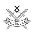 valhalla isolated logotype with crossed monochrome vector image