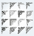 vintage design elements corners and borders set 2 vector image vector image