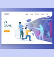 vr game website landing page design vector image vector image