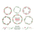watercolor wreaths and separate floral vector image vector image
