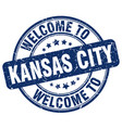 welcome to kansas city blue round vintage stamp vector image vector image