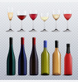 wine bottles and glasses transparent set vector image