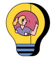 woman pose in light bulb and think about solution vector image vector image