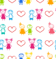 Seamless Romantic Wallpaper with Couple vector image