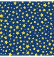 Golden stars blue sky seamless pattern vector image