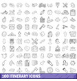 100 itinerary icons set outline style vector image