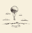 air balloon mountains adventures sketch vector image vector image