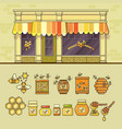 beekeeping product shop and set of cute honey vector image vector image