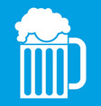 beer mug icon white vector image vector image