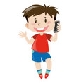 boy in red shirt using mobile phone vector image