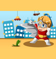 boy in superhero costume vector image vector image