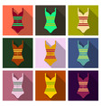 bright striped swimsuit beach female vector image