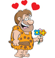 Cartoon Caveman with Flowers vector image vector image