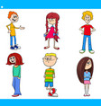 cartoon children and teenager characters set vector image