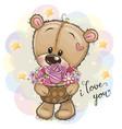 cartoon teddy bear with flowers vector image