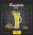chalk drawing christmas menu design cocktail grog vector image vector image