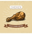 Chicken leg fast food in vector image vector image