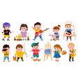 children hobby cartoon school or preschool kids vector image