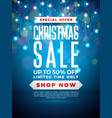 christmas sale design with lights bulb garland and vector image