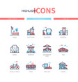 city elements - line design style icons set vector image