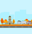 city town street view buildings in autumn season vector image vector image