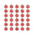 collection kawaii apple emoticons cartoons vector image vector image