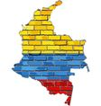 Colombia map on a brick wall vector image vector image