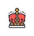 crown monarchy royal power flat color line icon vector image