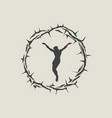 crucified jesus christ inside crown thorns vector image vector image