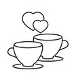 cups with a heart of love icon vector image vector image