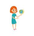 cute schoolgirl wirh globe preschool activities vector image vector image