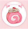 cute watercolor pink cake roll with cream vector image