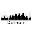 detroit city skyline black and white silhouette vector image vector image