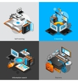E-learning Isometric Set vector image vector image