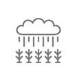 field under rain line icon vector image