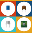 flat icon electronics set of resist unit triode vector image vector image