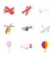 Flying vehicles icons set cartoon style vector image