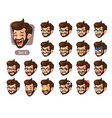 fourth set of bearded hipster facial emotions vector image vector image