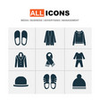 garment icons set with scarf pajamas fedora and vector image vector image