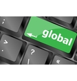Global button on the keyboard - business concept vector image vector image
