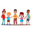 group of children holding hands together vector image