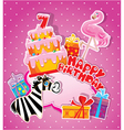 happy birthday 7year 380 vector image vector image