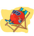 happy tomato relaxes on beach tomato drink vector image vector image