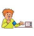 Ill little man complains about high blood pressure vector image vector image