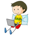 Kid and computer vector image vector image