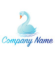 light blue swan simple logo on a white background vector image vector image