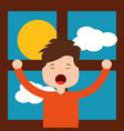 little boy in front morning day stretching window vector image vector image