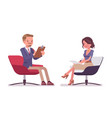 male and female office secretary sitting in chair vector image