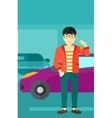 Man holding keys from new car vector image vector image