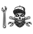 mechanic skull in baseball cap and wrench vector image